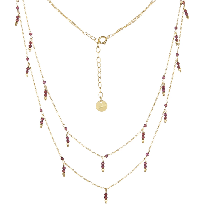 Dangling Double Strand Necklace - Garnet