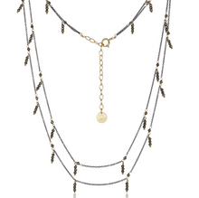 Load image into Gallery viewer, Dangling Double Strand Necklace - Pyrite