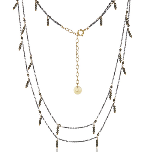 Dangling Double Strand Necklace - Pyrite