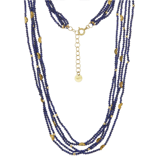 Half Moon 5-Strand Lapis Necklace