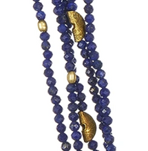 Load image into Gallery viewer, Half Moon 5-Strand Lapis Necklace