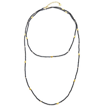 Load image into Gallery viewer, Half Moon Long Strand Necklace in Pyrite