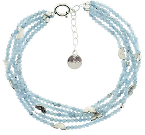 Half Moon Multi-Strand Bracelet in Aquamarine