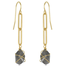 Load image into Gallery viewer, Modern Link Labradorite Earrings