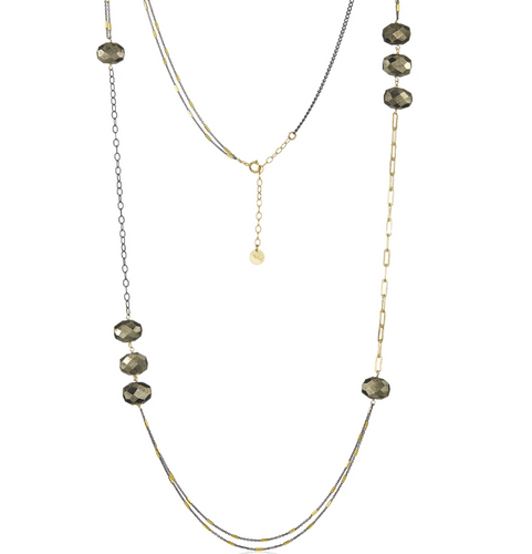 Links of Color Necklace in Pyrite
