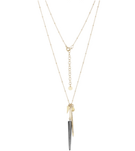 Load image into Gallery viewer, Pave Double Diamond Spike Necklace