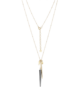 Pave Double Diamond Spike Necklace