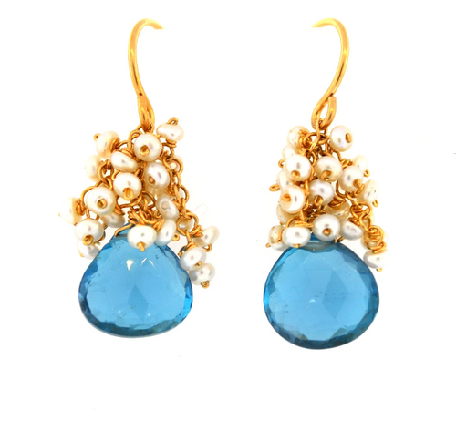 Pearl Cluster with Drop Earrings - Blue Topaz