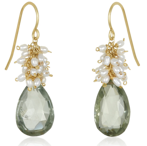 Pearl Cluster with Drop Earrings - Green Amethyst