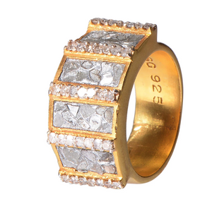 Ajmer Gold Ring with Silver Resin