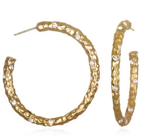 1.5 Gold Pavia Hoops with Crystals