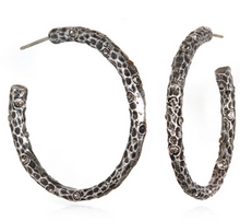 "Load image into Gallery viewer, 1.5"" Silver Pavia Hoops with Crystals"