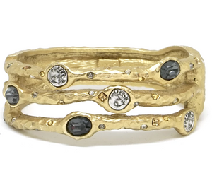 Capri 3 Row Coin & Crystal Bangle