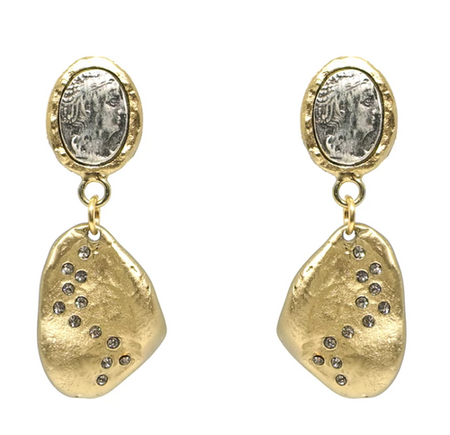 Gold Coin & Crystal Impression Earrings