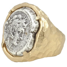 Load image into Gallery viewer, Gold Fira Framed Coin Ring