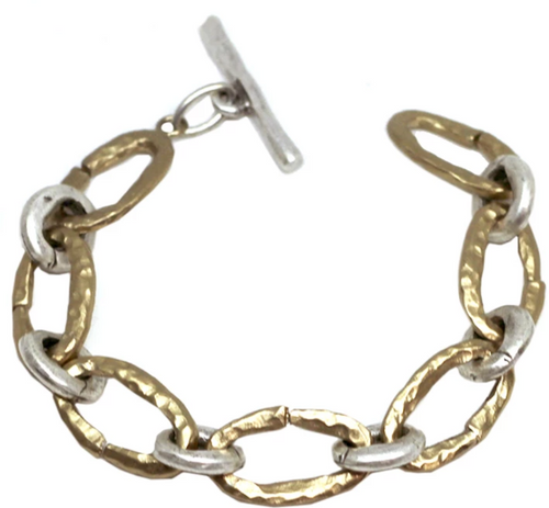 Gold Hammered Link Bracelet