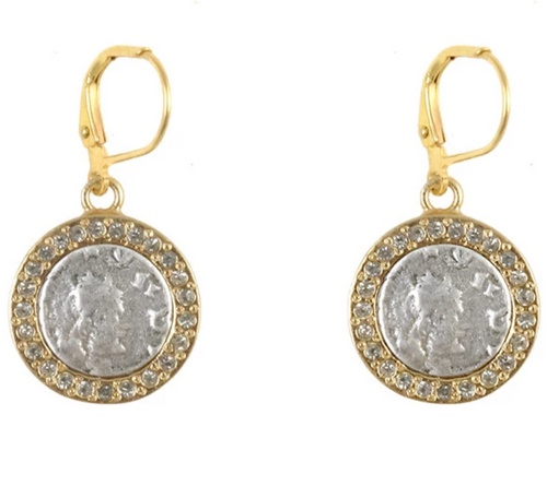 Gold Hestia Coin Earrings