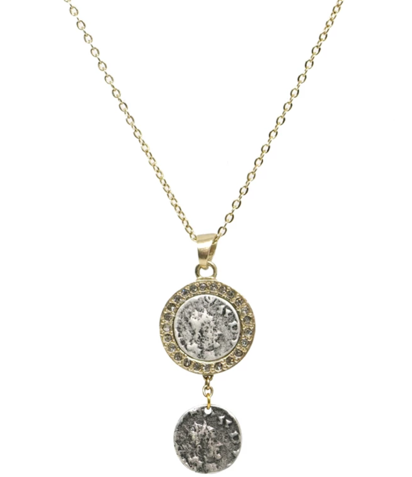 Gold Hestia Silver Coin Necklace