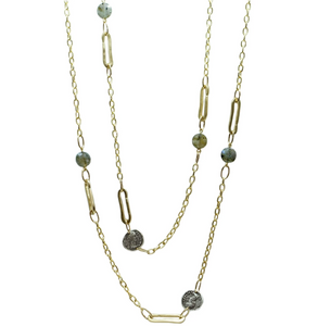 Gold & Labradorite Safety Pin Link & Coin Station Necklace