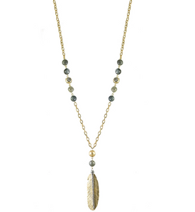 Gold Manila Labradorite Feather Necklace