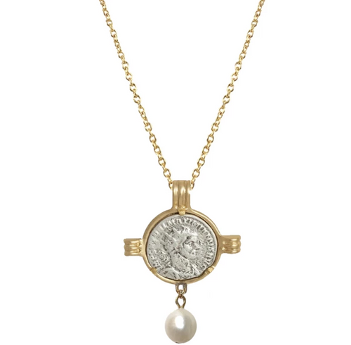 Gold Maximianus Coin & Frame Pearl Drop Necklace