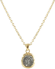 Load image into Gallery viewer, Gold Pavia Coin & Frame Necklace