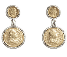 Load image into Gallery viewer, Vintage Silver Juliana & Francis II Coin Earrings