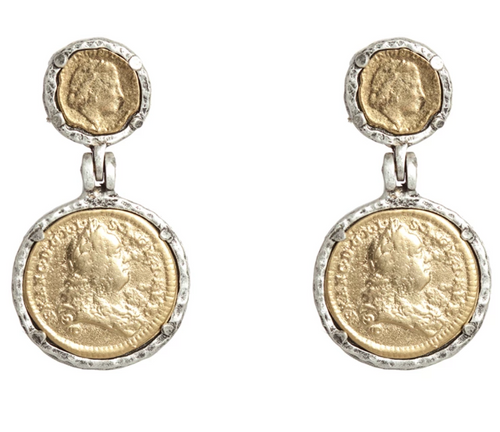 Vintage Silver Juliana & Francis II Coin Earrings