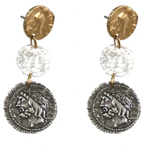 Load image into Gallery viewer, Multi Finish 3 Roman Coin Drop Earrings