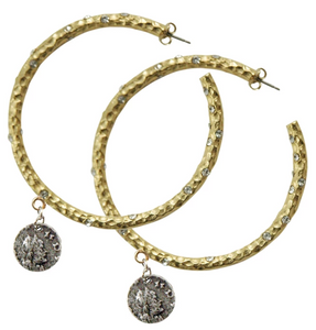 Gold Pavia Hoops with Crystals & Dangling Coin