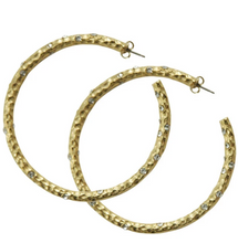 "Load image into Gallery viewer, 2"" Silver Pavia Hoops with Crystals"