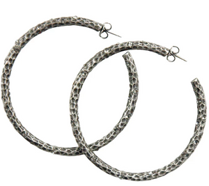 "2"" Silver Pavia Hoops with Crystals"
