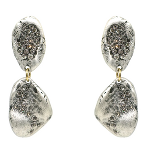 Silver Crystal Impression Earrings