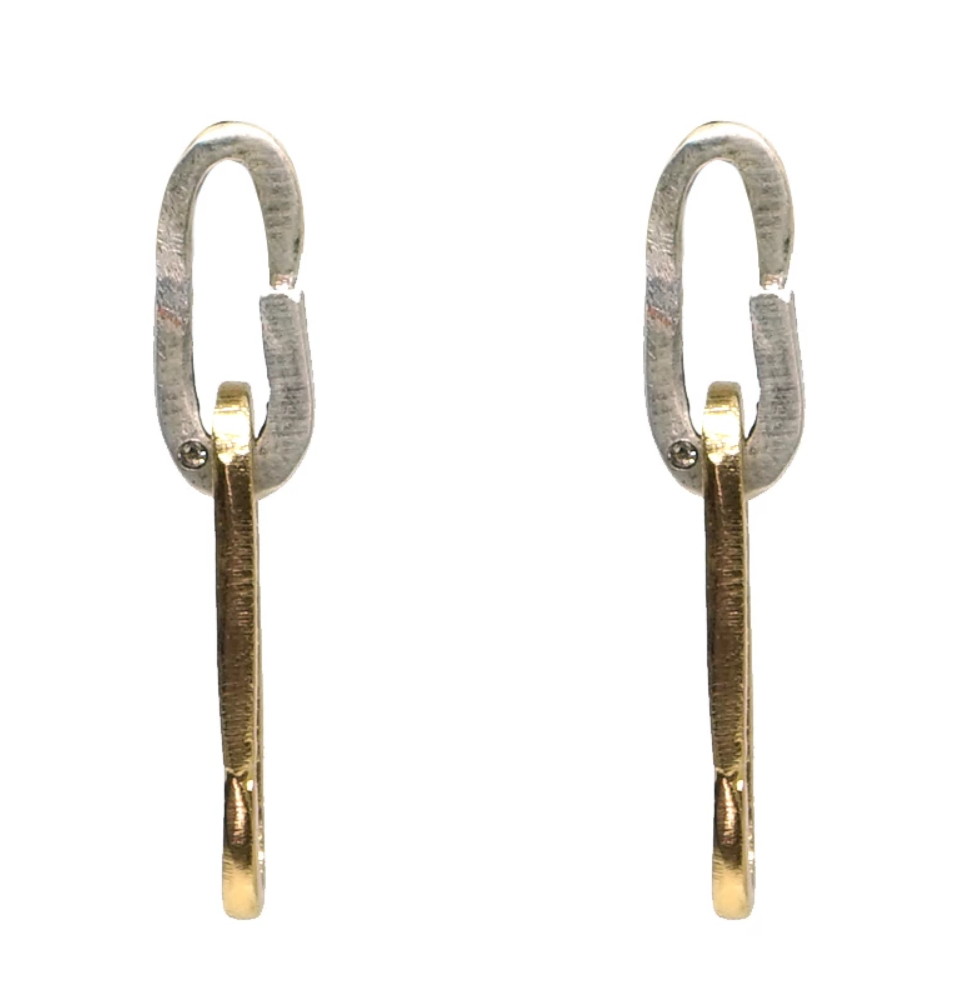 Two Tone Drop Safety Pin Earrings