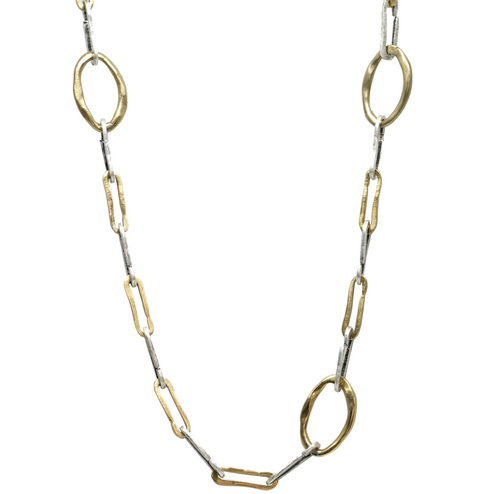 Two Tone Safety Loop Link Necklace