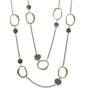 Vintage Silver & Labradorite Loop Link Necklace