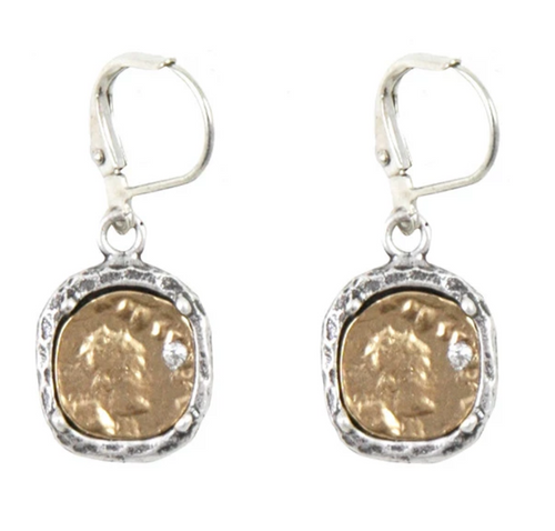 Silver Pavia Coin & Frame Dangle Earrings