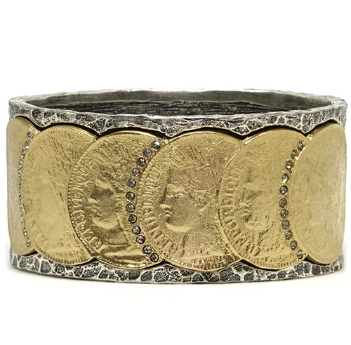Silver Frame Gold Republique Coin Bangle