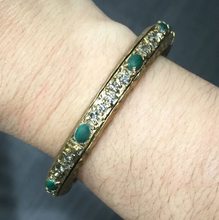 Load image into Gallery viewer, Gold & Malachite Galanta Bangle