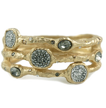 Load image into Gallery viewer, Gold Capri 3 Row Coin & Crystal Pave Bangle