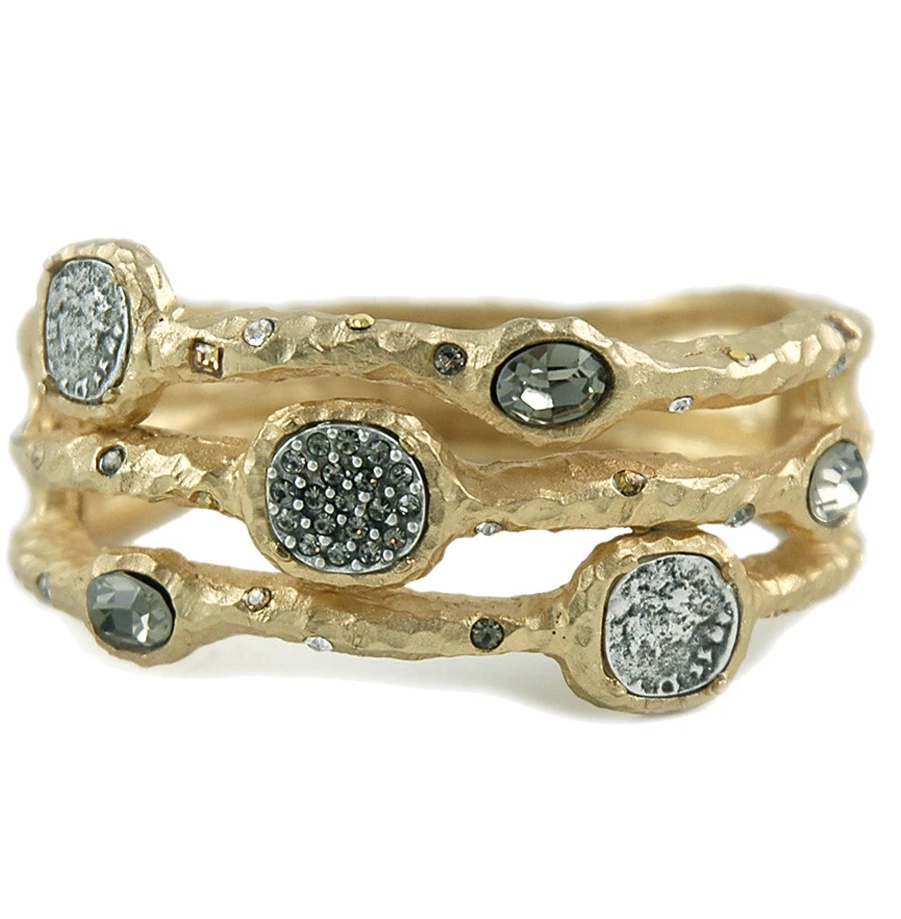Gold Capri 3 Row Coin & Crystal Pave Bangle