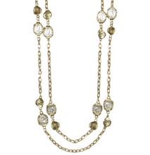 Load image into Gallery viewer, Gold Coin & Crystal Impression Station Necklace
