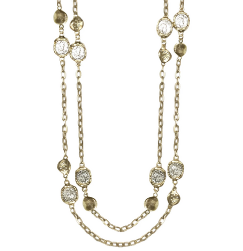 Gold Coin & Crystal Impression Station Necklace