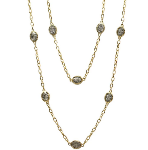 Gold Faustina Coin & Crystal Station Necklace