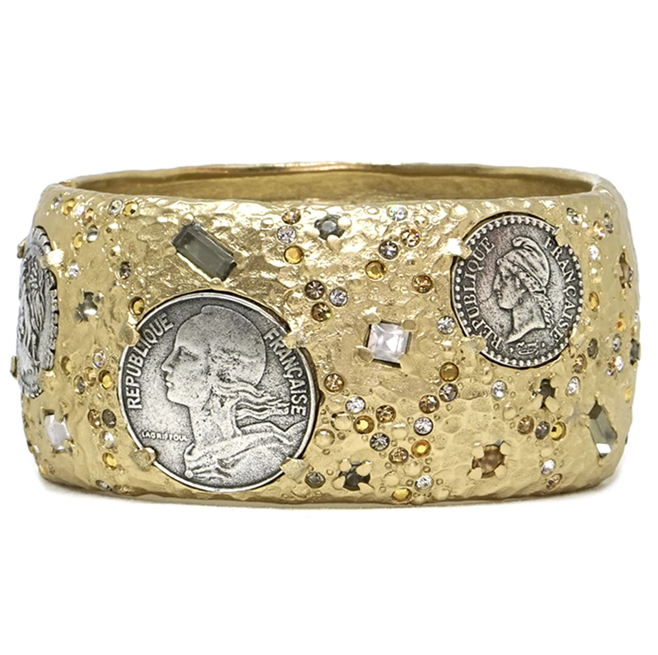 Gold Coin Thick Bangle