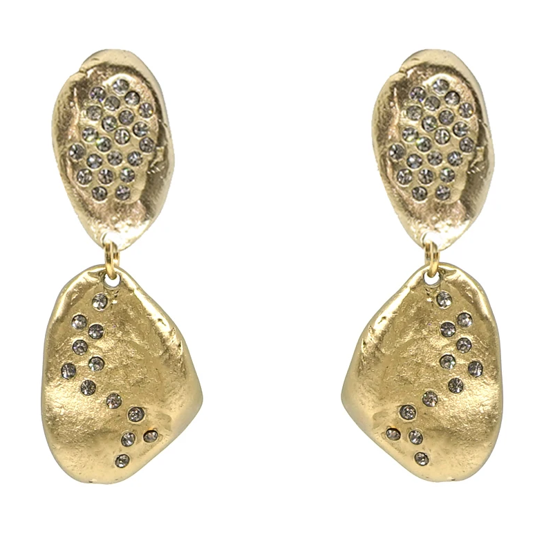 Gold Crystal Impression Earrings