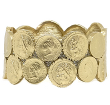 Load image into Gallery viewer, Gold Double Coin Bangle