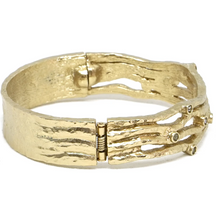 Load image into Gallery viewer, Gold Essling Black Diamond 4 Row Bangle