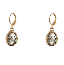 Load image into Gallery viewer, Gold Faustina Coin & Frame Dangle Earrings