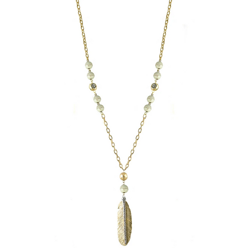 Gold Manila White Turquoise Feather Necklace
